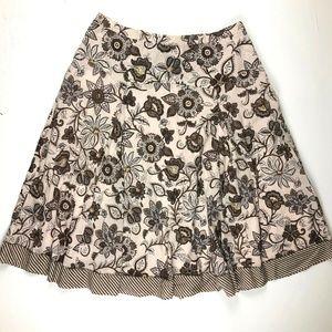 Coldwater Creek Beige Brown Floral Beaded Skirt